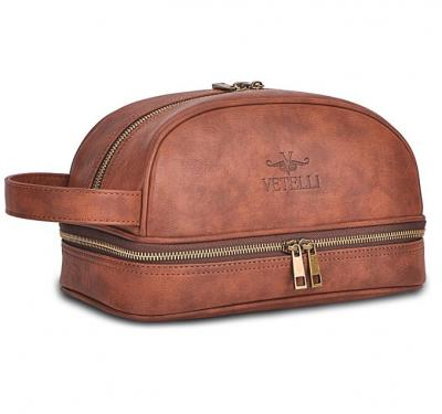 Vetelli Leather Toiletry Bag / Dopp Kit for Men