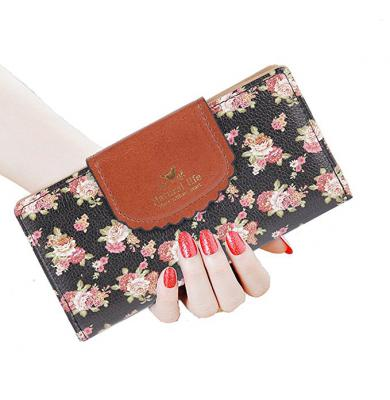 SeptCity Women's Wallet Cute Floral Soft Leather Clutch Gift for Her, 2071