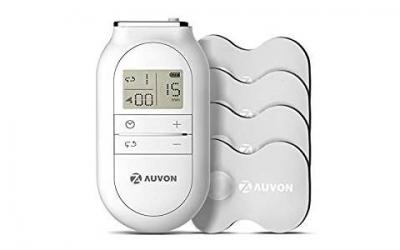 AUVON FDA Cleared TENS Machine for Pain Relief (OTC), Portable Muscle Stimulator Unit / Electronic Pulse Massager with Delicate Combined Waveform and Compatible TENS Unit Pads (3.5mm Snap)