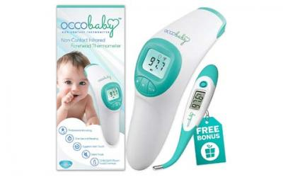 OCCObaby Clinical Forehead Baby Thermometer - 2017 Edition with Flexible Tip Waterproof Digital Thermometer for Infants & Toddlers | Instant Read Non-Contact Infrared Scanner