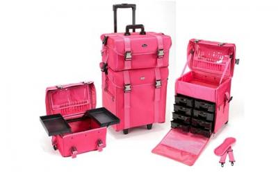 Seya 2 in 1 Professional Makeup Artist Rolling Makeup Train Case Cosmetic Organizer Soft Trolley