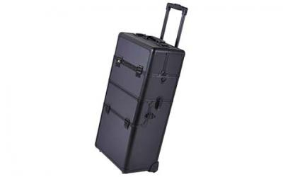 2in1 Black 38-Inch Makeup Aluminum Rolling Cosmetic Train Case